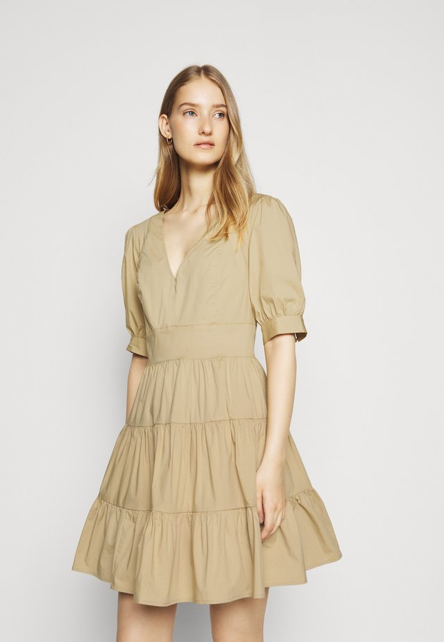 V NECK PUFF DRESS - Freizeitkleid - khaki