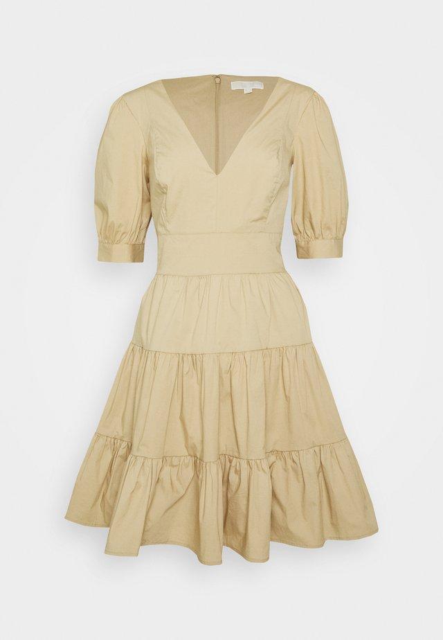 V NECK PUFF DRESS - Day dress - khaki
