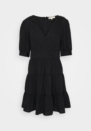 V NECK PUFF DRESS - Vestito estivo - black
