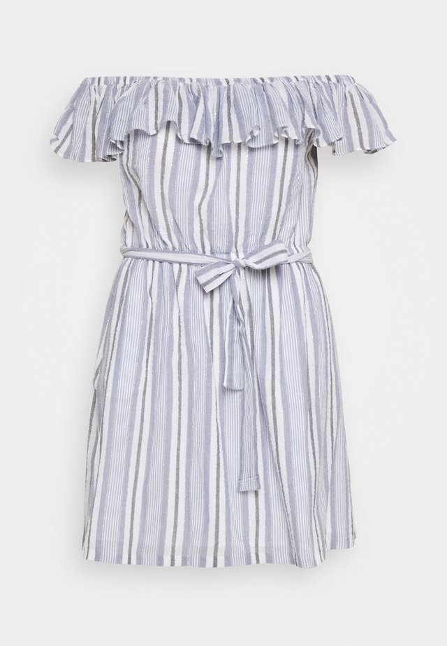 RUFFLE NECK MIDI - Vestido informal - dark chambray