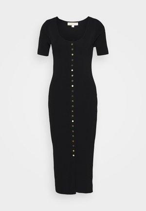 SNAP FRONT MIDI - Shift dress - black