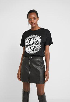 CHAIN GLITTER LOGO TEE - T-shirt imprimé - black/silver