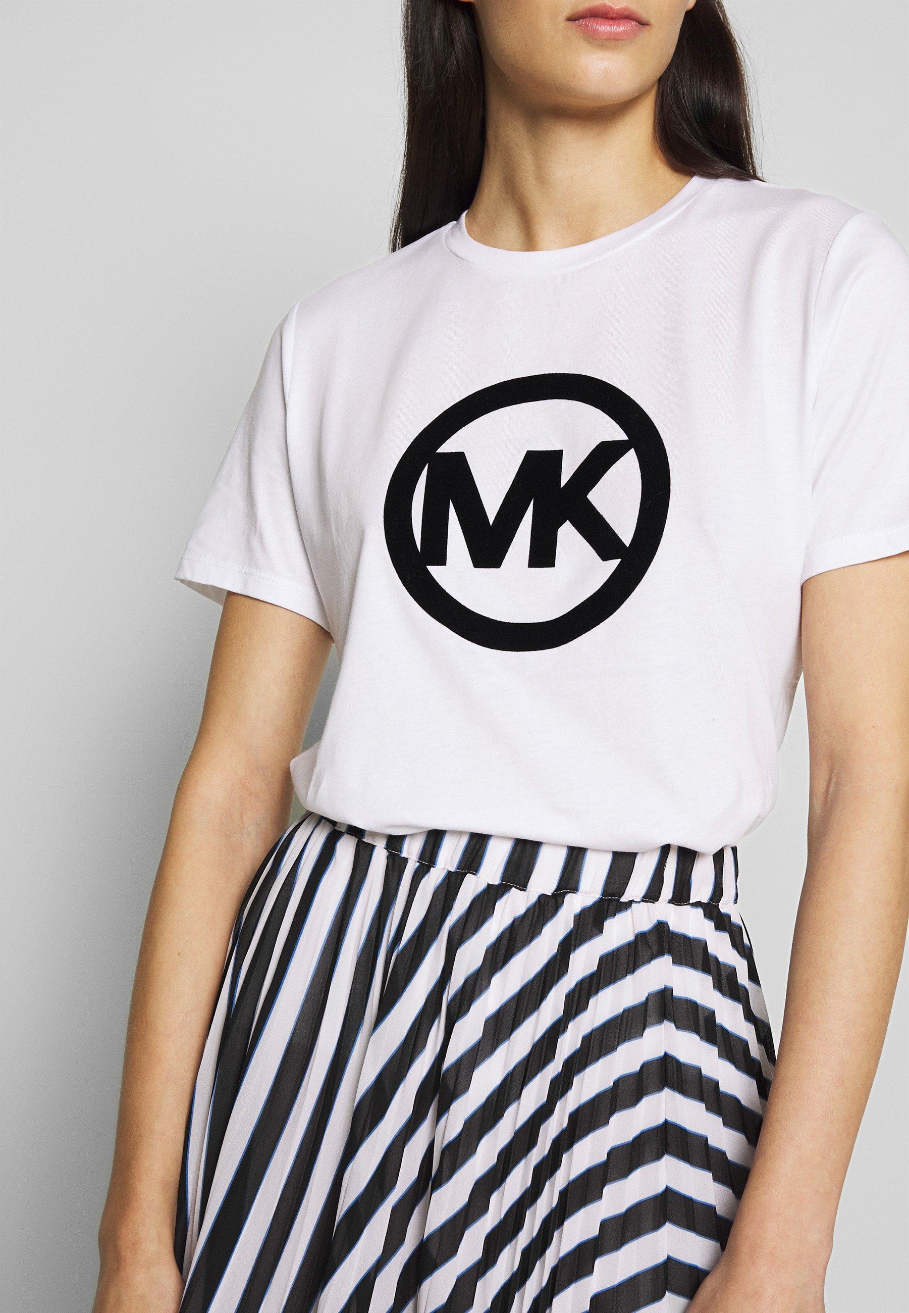 MICHAEL Michael Kors CIRCLE LOGO FLOCK TEE - T-shirts med print - white