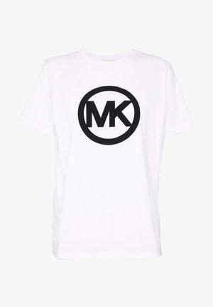 CIRCLE LOGO FLOCK TEE - T-Shirt print - white