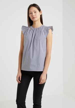 STRIPE RUFFLE TOP - Blouse - white/true navy