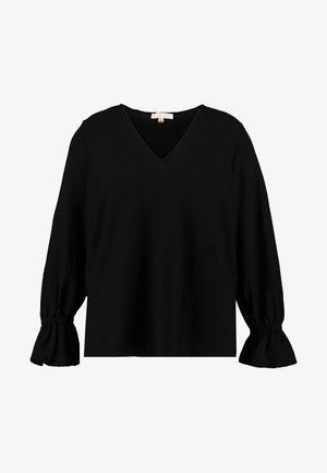 V NECK RUFFLE - Camiseta de manga larga - black