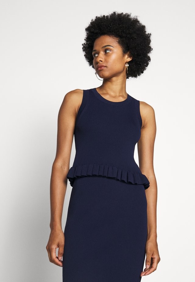 CROP RUFFLE - Top - true navy