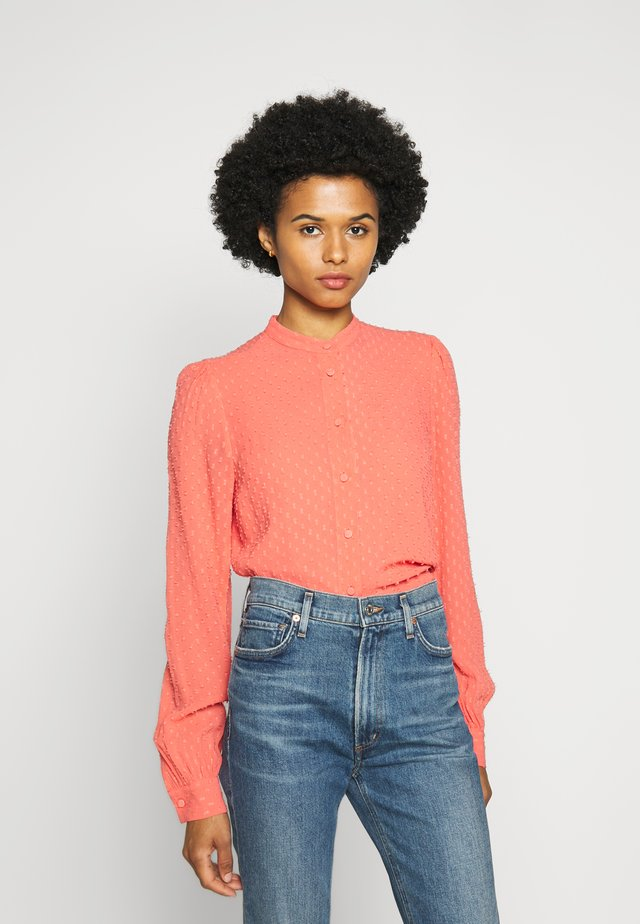 BLOUSE - Button-down blouse - coral peach