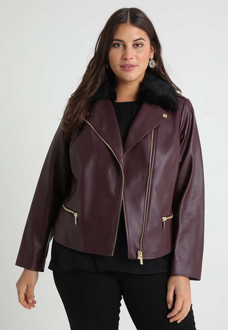 MICHAEL Michael Kors - PLUS MOTO - Faux leather jacket - burgundy