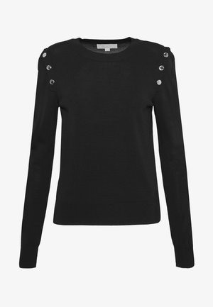SNAP SWEATER - Neule - black