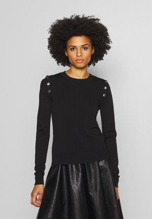 SNAP SWEATER - Trui - black