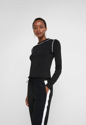 LOGO TRIM CREW - Pullover - black