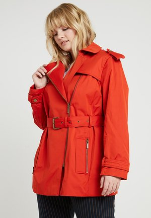 PLUS ZIP FRONT - Trenchcoat - bright terra cotta