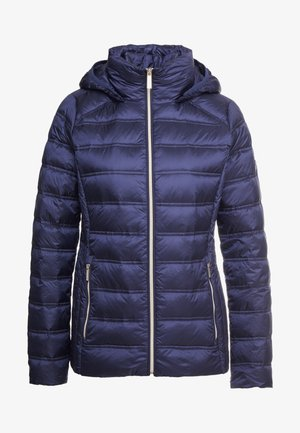 SHORT PACKABLE PUFFER WITH HOOD - Bunda z prachového peří - dark navy
