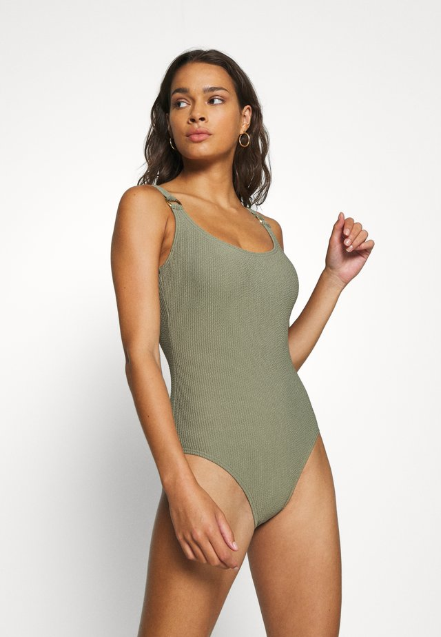 DECADENT TEXTURE LOGO RING NECK ONE PIECE - Badeanzug - army green