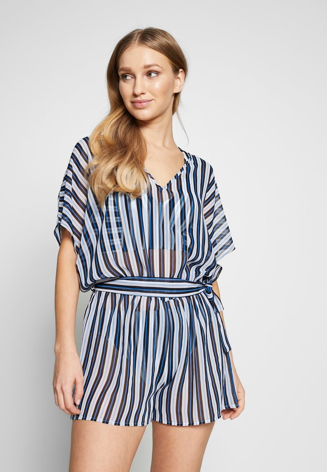 STRIPE ROMPER COVER UP - Strandaccessoire - black multi
