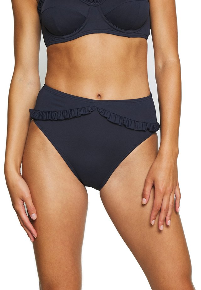 ICONIC SOLIDS RUFFLED HIGH LEG BOTTOM - Bikini-Hose - new navy