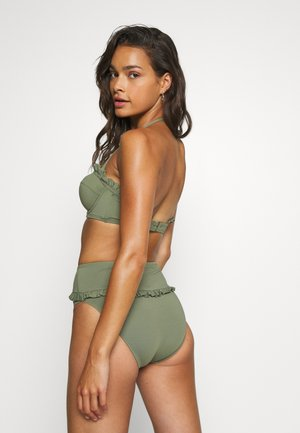ICONIC SOLIDS RUFFLED HIGH LEG BOTTOM - Bas de bikini - army green