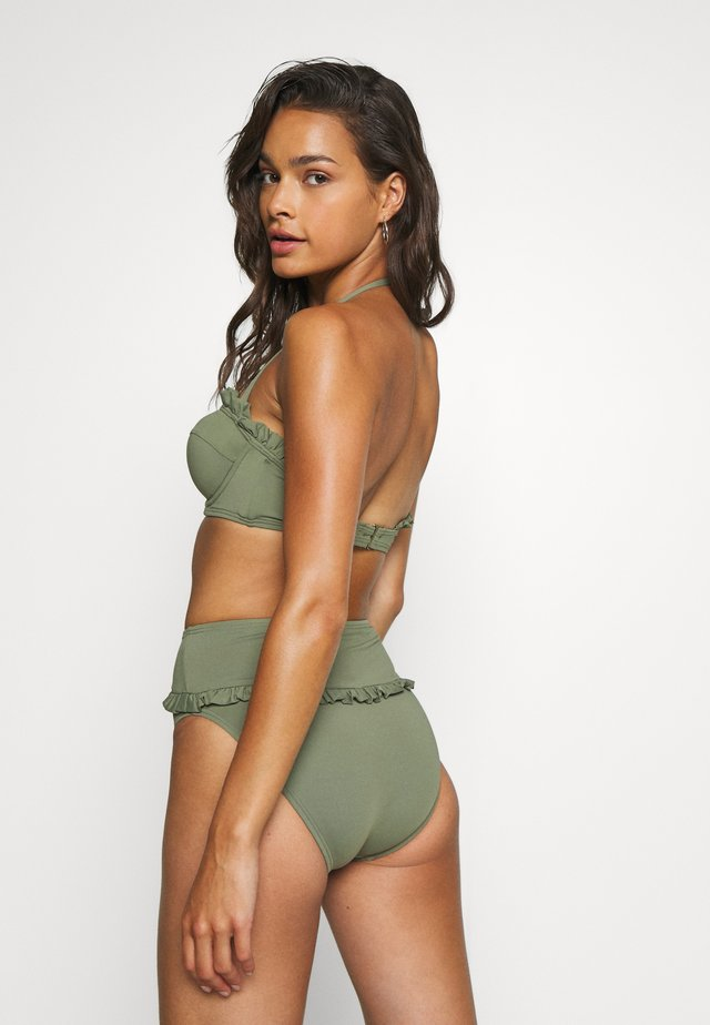 ICONIC SOLIDS RUFFLED HIGH LEG BOTTOM - Bikini-Hose - army green