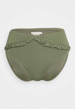 ICONIC SOLIDS RUFFLED HIGH LEG BOTTOM - Bikini bottoms - army green