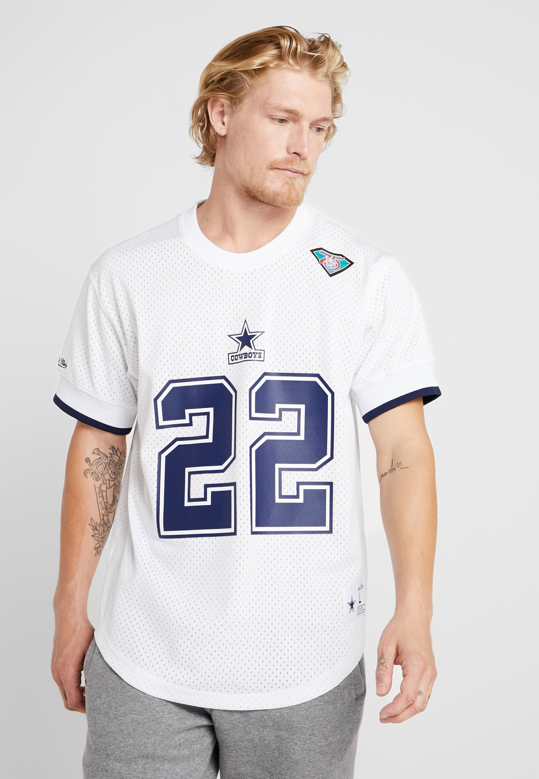 Crew NeckT Nfl Ness White Mitchellamp; Number Name Stampa shirt Con f6Yvg7by
