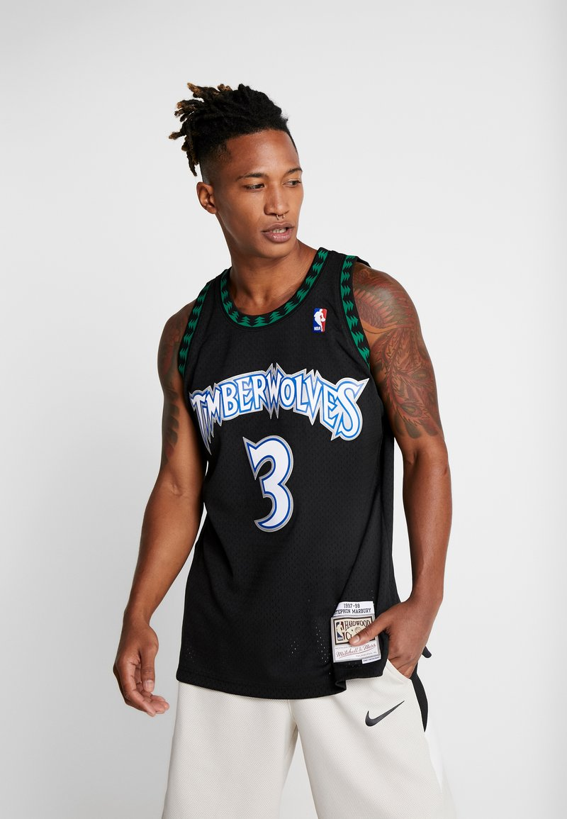 Mitchell & Ness - NBA SWINGMAN MINNESOTA TIMBERWOLVES STEPHEN MARBURY  - Equipación de clubes - black