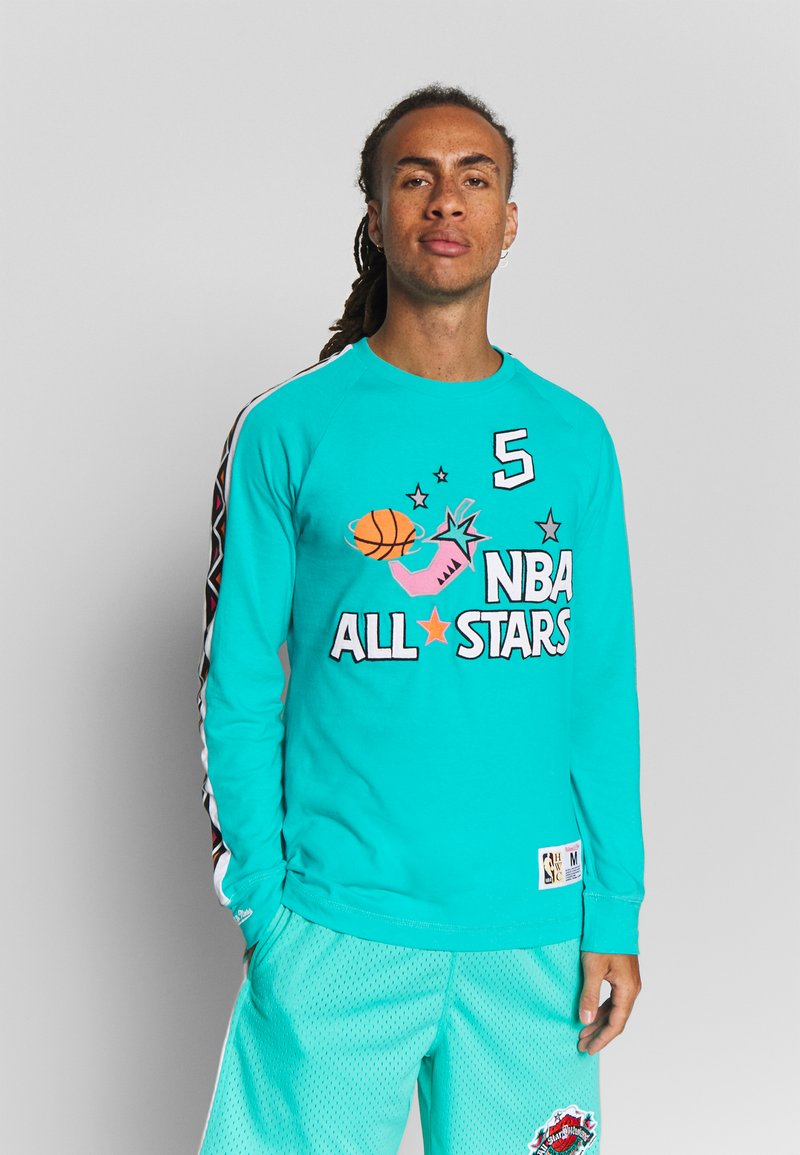 Mitchell & Ness - NBA ALL STAR WEST NAME NUMBER LONGSLEEVE JASON KIDD - Klubové oblečení - teal