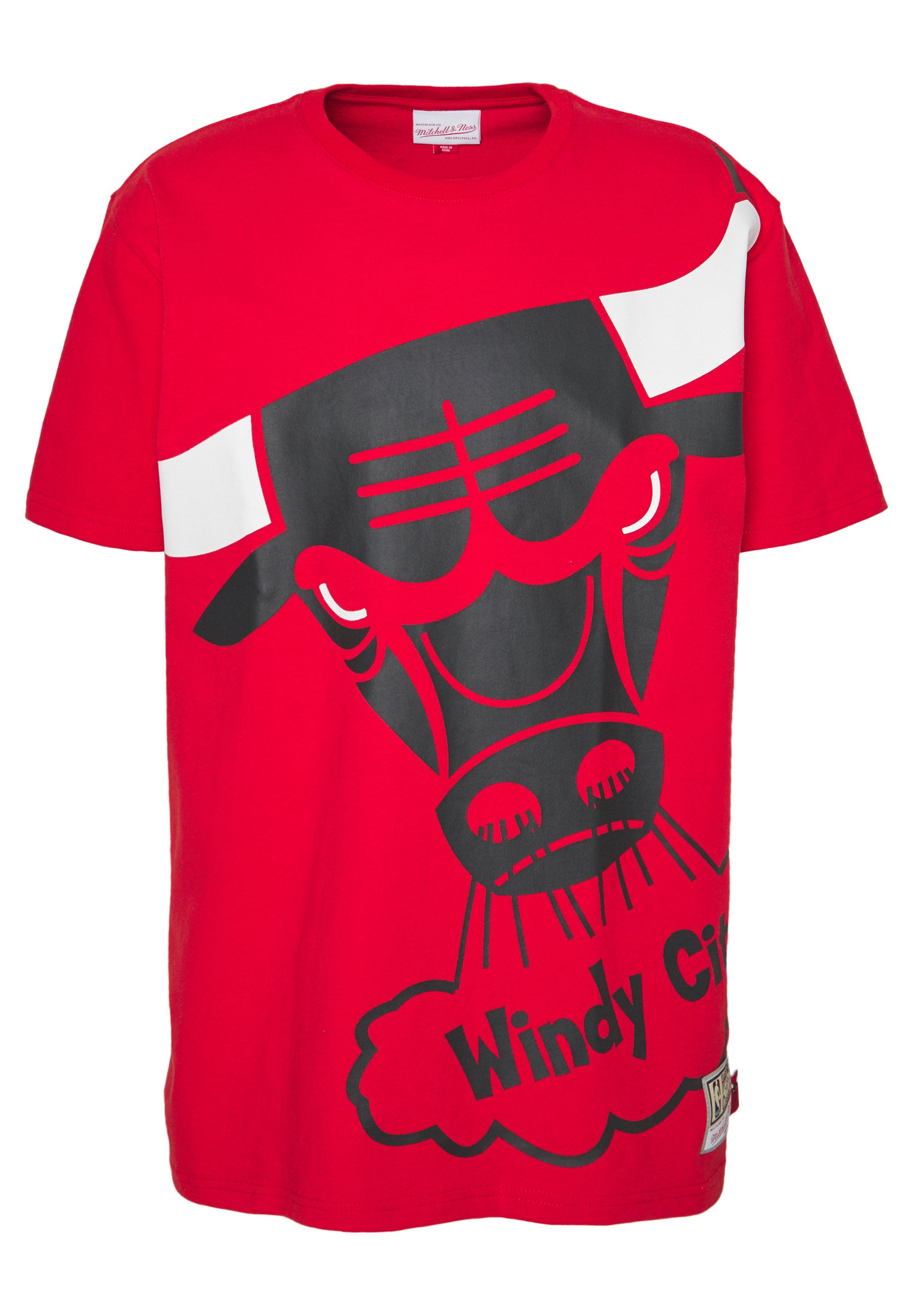 Mitchell & Ness NBA CHICAGO BULLS BIG FACE BULLS TEE - Klubbklær - red