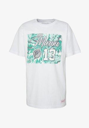 NFL MIAMI DOLPHINS DAN MARINO PRO BOWL TROPICAL PLAYER TEE - Club wear - white