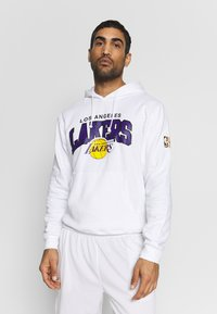 Mitchell & Ness - NBA LA LAKERS ARCH LOGO HOODY - Klubtrøjer - white - 0