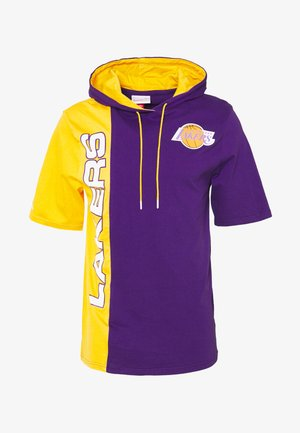 NBA LOS ANGELES LAKERS SHORTSLEEVE SPLIT HOODY - Klubtrøjer - purple/gold
