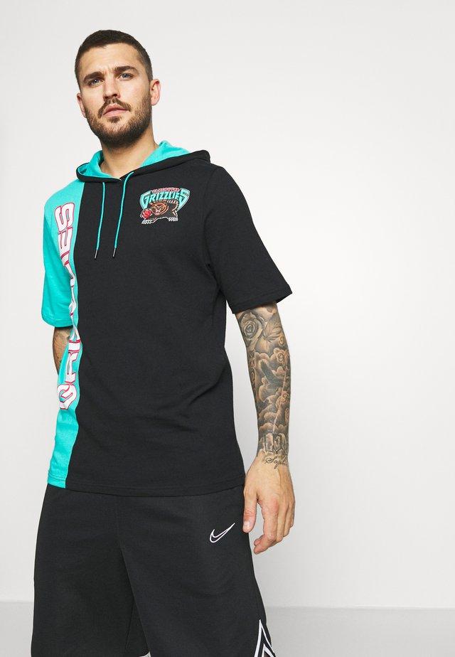 NBA VANCOUVER GRIZZLIES SHORTSLEEVE HOODY - Pelipaita - black/teal
