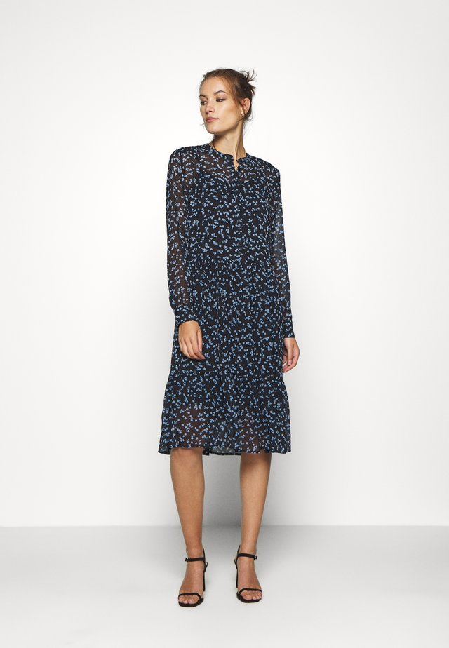 TINYA PRINT DRESS - Skjortklänning - black/light blue