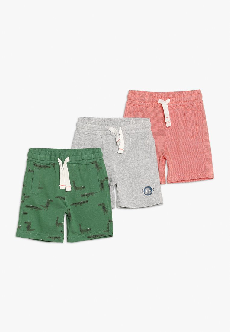 mothercare - MINI BOYS 3 PACK - Shorts - green/mottled grey/red