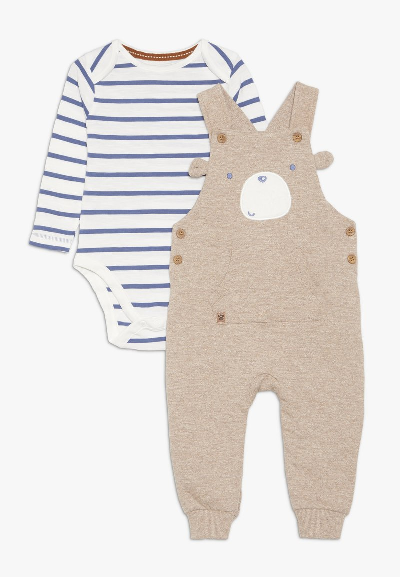 mothercare - BABY SLUB BEAR DUNGAREE SET - Dungarees - brown