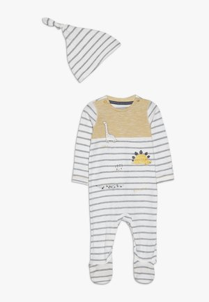 BABY STRIPE AND HAT SET - Kruippakje - mustard