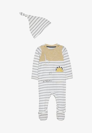 BABY STRIPE AND HAT SET - Śpioszki - mustard