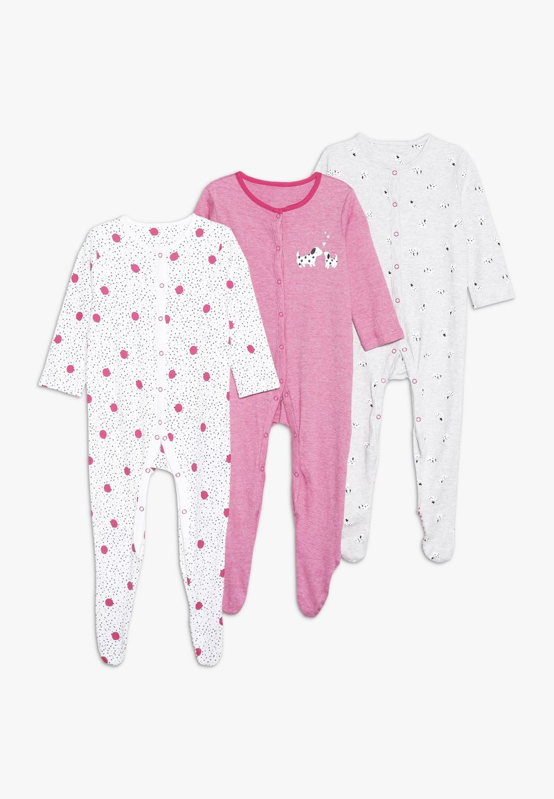 mothercare - BABY SPOTTY SLEEPSUITS 3 PACK  - Pyžamo - bright pink