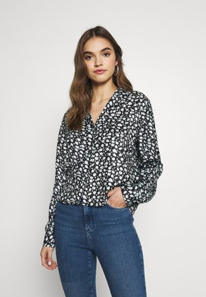 GILLU - Button-down blouse - black