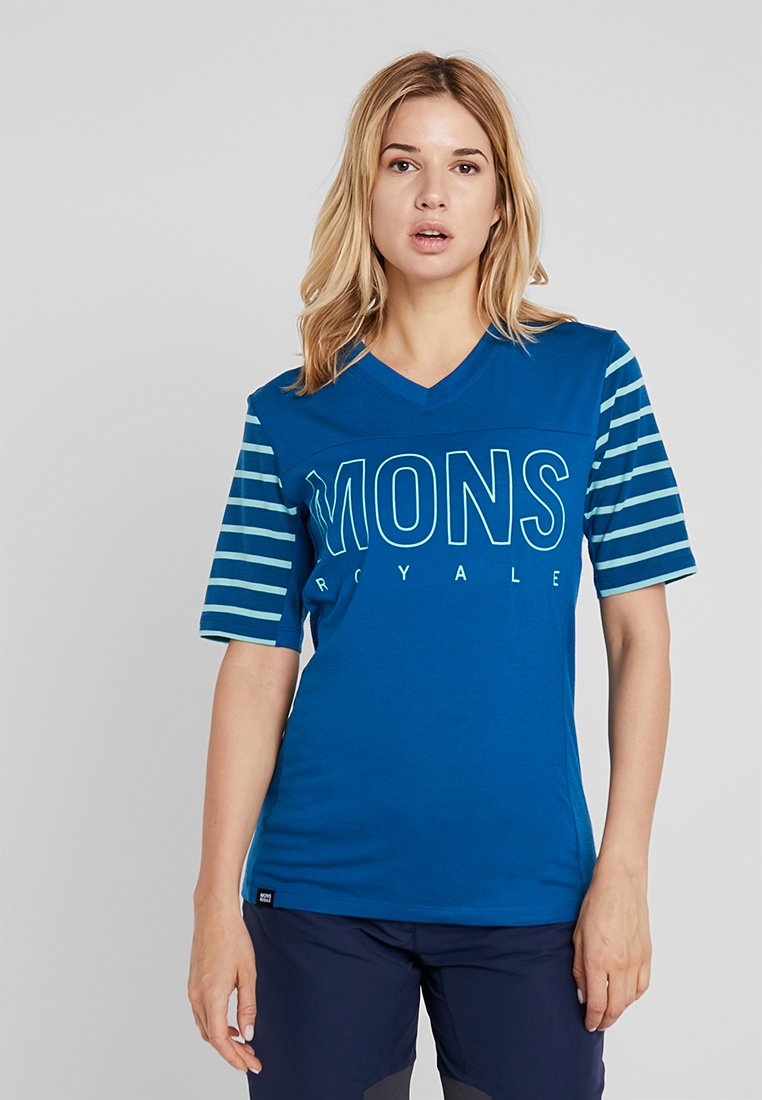 Mons Royale - PHOENIX ENDURO  - T-Shirt print - oily blue/horizon stripe