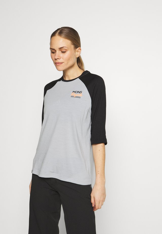 TARN FREERIDE RAGLAN 3/4 - T-shirt sportiva - black/grey