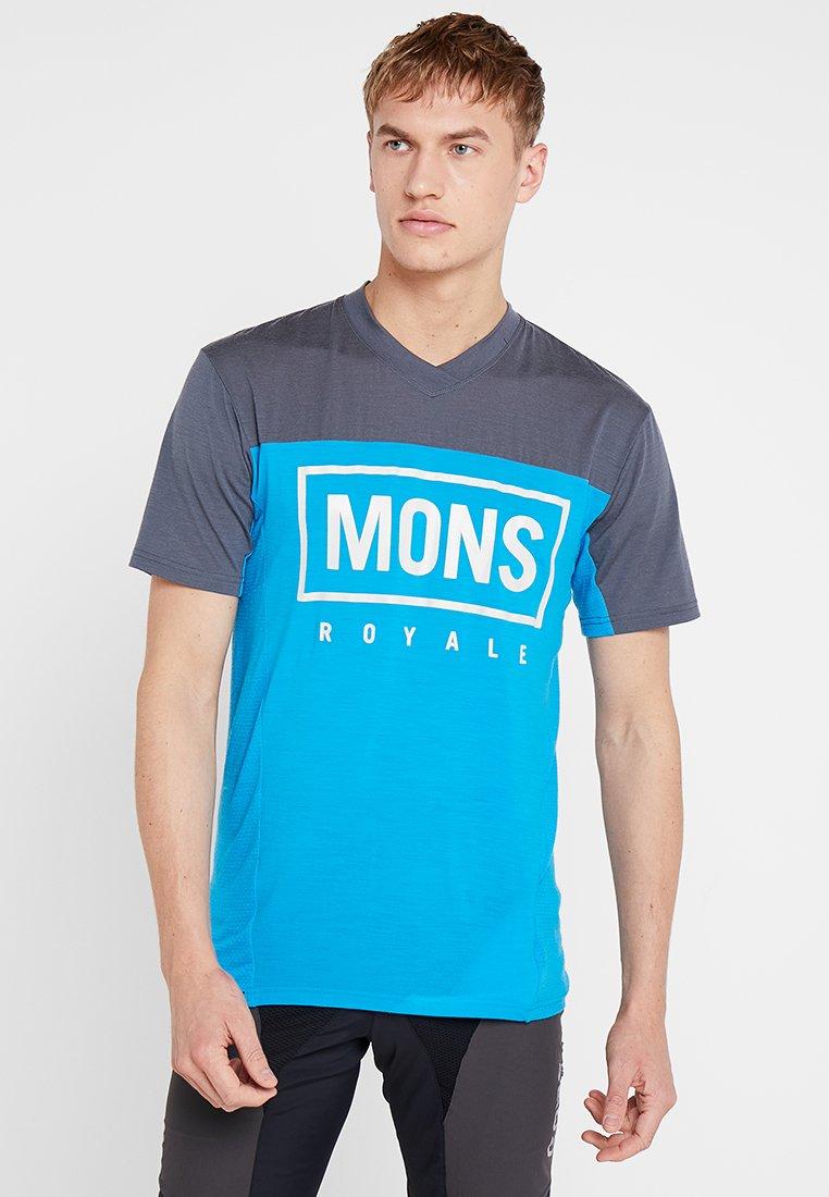Mons Royale - REDWOOD ENDURO - Print T-shirt - charcoal / downhill blue