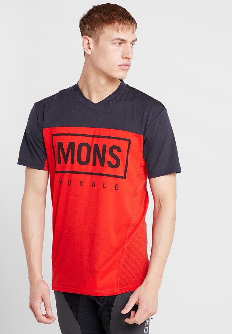 Mons Royale - REDWOOD ENDURO - Camiseta estampada - bright red