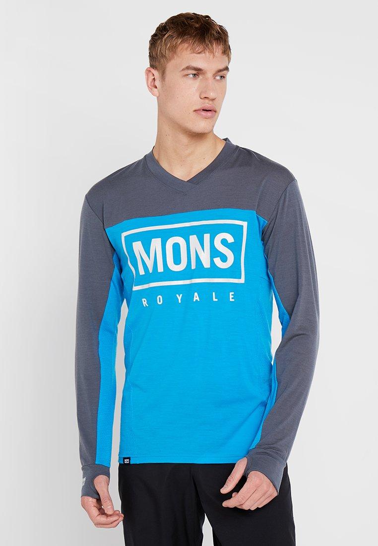 Mons Royale - REDWOOD ENDURO - Funktionsshirt - charcoal/downhill blue