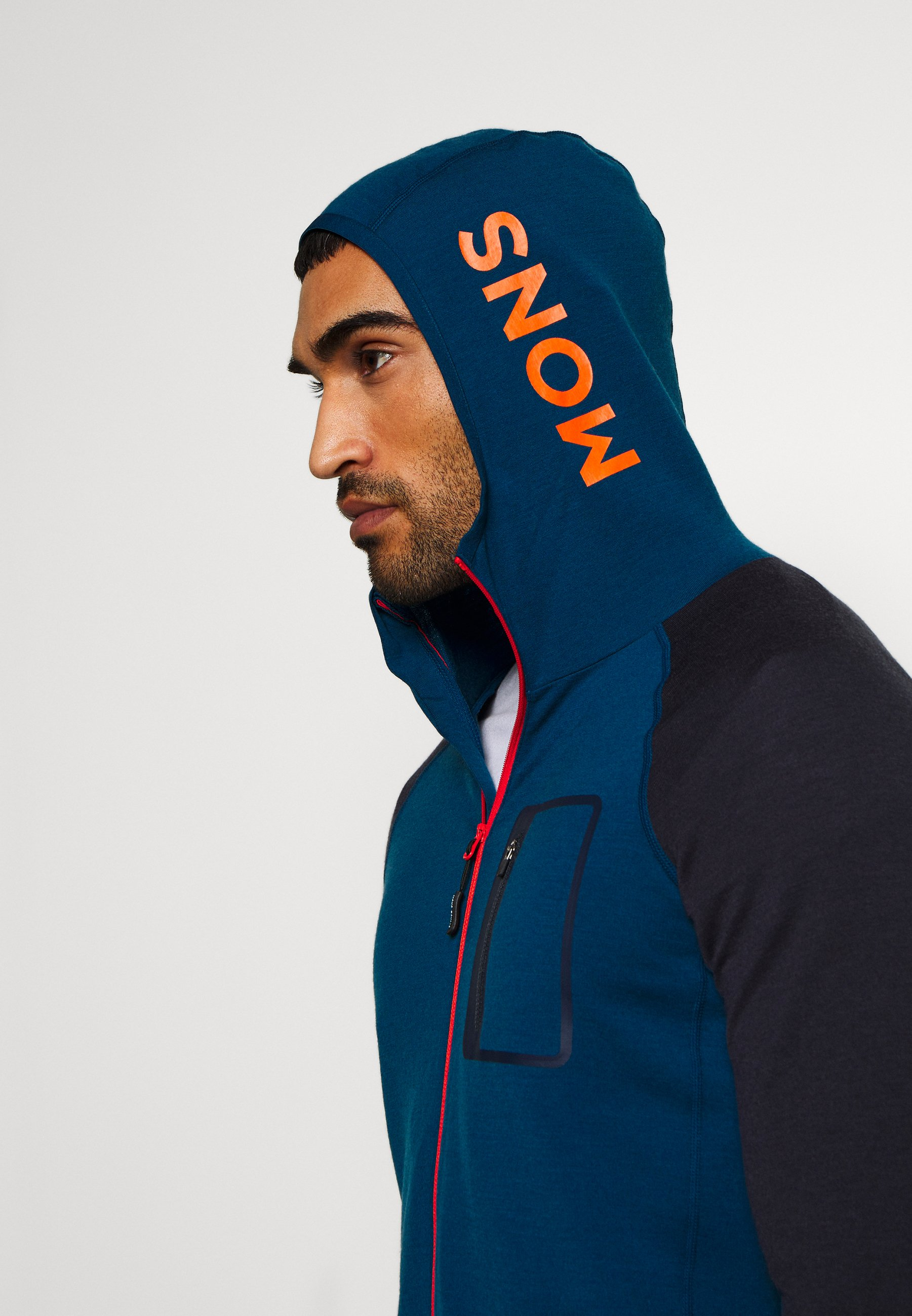 Mons Royale Traverse Midi Full Zip Hood - Zip-up Hoodie Atlantic/orange Smash