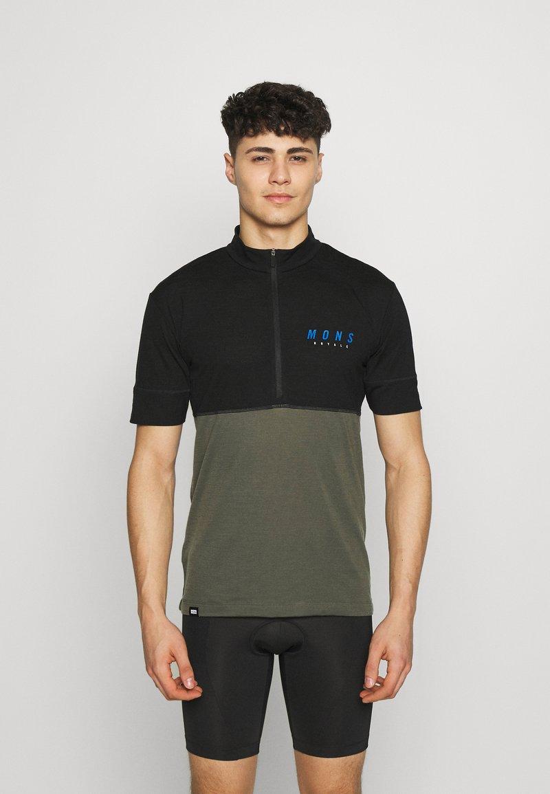 Mons Royale - CADENCE HALF ZIP - Print T-shirt - black/olive