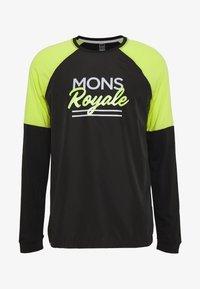 Mons Royale - TARN FREERIDE WIND - Funkční triko - black/sonic lime - 3