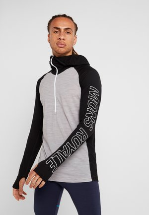 TEMPLE TECH HOOD - Aluspaita - black/grey marl