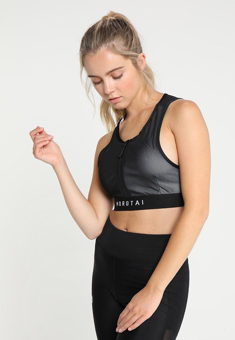 MOROTAI - PERFORMANCE DOUBLE LAYER ZIP BRA - Sports bra - black