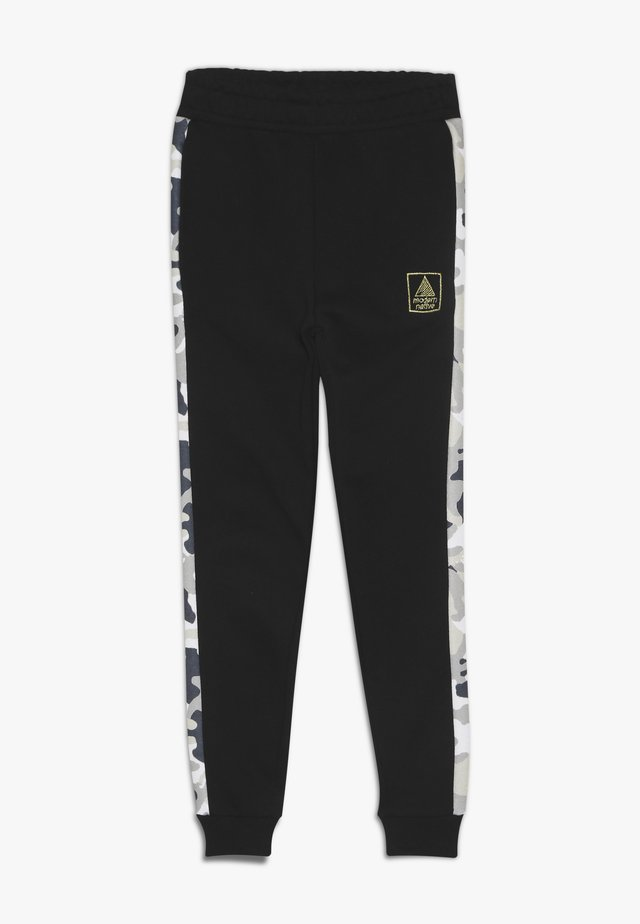 LOOPBACK BOTTOMS WITH PRINTED SIDE PANEL - Tracksuit bottoms - black